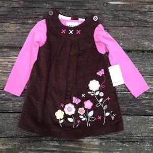 NWT 2pc Corduroy Dress by Sweet 18 M Brown Pink